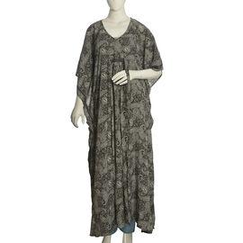 Black, Grey and White Colour Paisley Pattern Long Kaftan (Free Size)