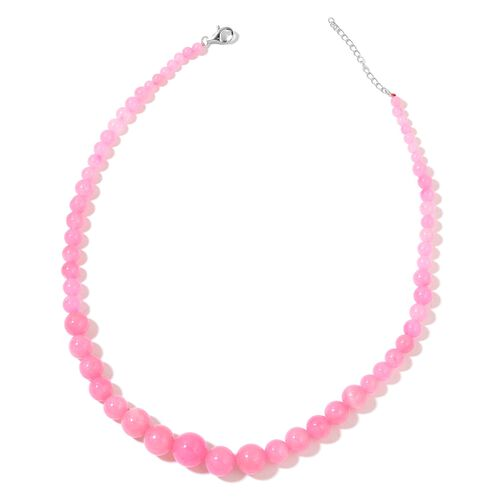 Pink Jade Ball Necklace (Size 18 with 2 inch Extender) and Hook Earrings in Rhodium Plated Sterling Silver 294.500 Ct.
