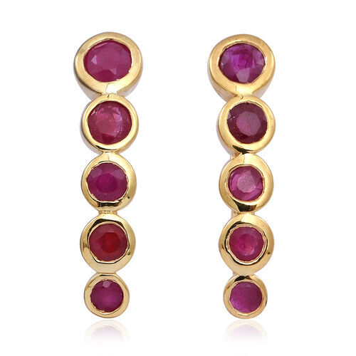 Burmese Ruby (Rnd) Earrings in 14K Gold Overlay Sterling Silver 1.760 Ct.