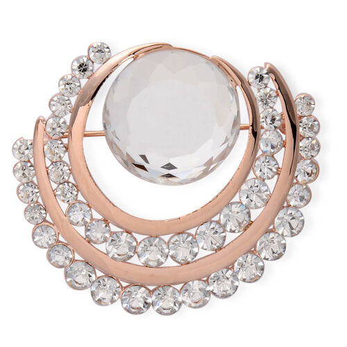 White Glass, White Austrian Crystal Brooch in Rose Gold Tone