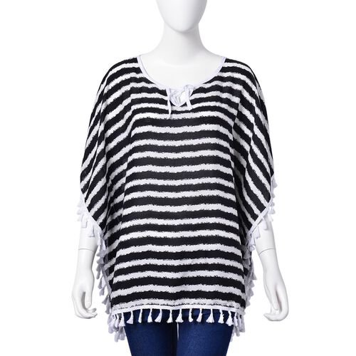 Black and White Colour Stripes Pattern Poncho with Tassels (Size 70X65 Cm)