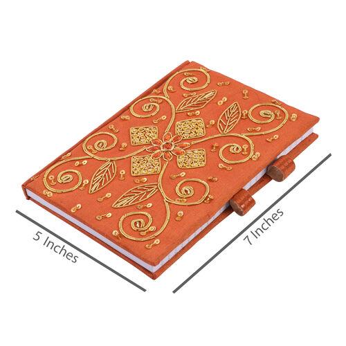 Zari Art Work Silk Orange Colour Notebook (Size 17.78X12.70 Cm) with Beads Embellished Pen