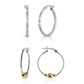 Set of 2 - 14K Gold Overlay Sterling Silver Diamond Cut and Beads Hoop Earrings (with Clasp), Silver wt 3.90 Gms.