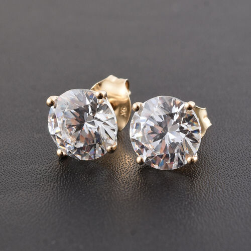 9K Yellow Gold Round Stud Earrings Made with SWAROVSKI ZIRCONIA