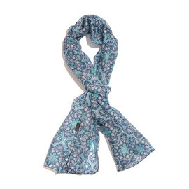 100% Mulberry Silk Turquoise, White and Multi Colour Handscreen Floral Printed Scarf (Size 170X50 Cm)