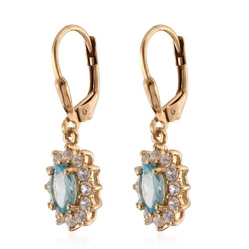 Paraibe Apatite (Ovl), Natural Cambodian Zircon Lever Back Earrings in 14K Gold Overlay Sterling Silver 2.750 Ct.