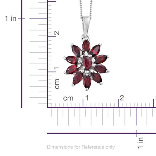 Arizona Anthill Garnet (Mrq) Floral Pendant With Chain in Platinum Overlay Sterling Silver 2.000 Ct.