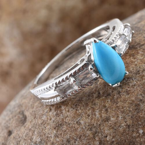 Arizona Sleeping Beauty Turquoise (Pear 1.00 Ct), White Topaz Ring in Platinum Overlay Sterling Silver 1.500 Ct.
