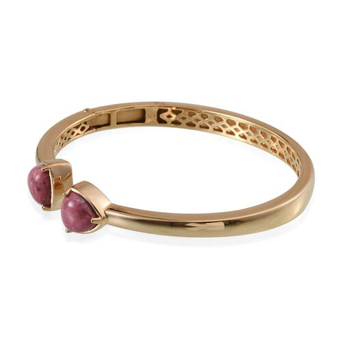 Norwegian Thulite (Trl) Open Bangle (Size 7.5) in ION Plated 18K Yellow Gold Bond 7.500 Ct.