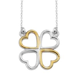 Platinum and Yellow Gold Overlay Sterling Silver Heart Necklace (Size 20), Silver wt 3.63 Gms.
