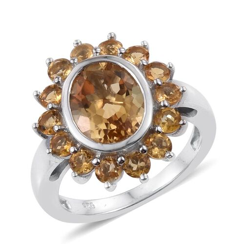 Citrine (Ovl 2.40 Ct) Ring in Platinum Overlay Sterling Silver 3.500 Ct.