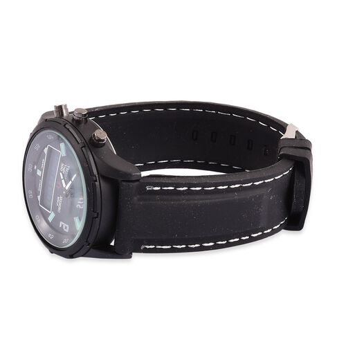 STRADA Analog and Digital Movement Watch with Black Silicone Strap