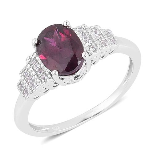 Odisha Rhodolite Garnet (Ovl 2.50 Ct), White Zircon Ring in Platinum Overlay Sterling Silver 2.600 Ct.