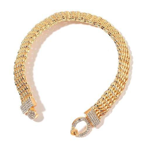 AAA White Austrian Crystal Necklace (Size 16) in Yellow Gold Tone