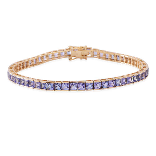 Limited Available-9K Y Gold Tanzanite (Princess Cut) Tennis Bracelet (Size 7.5) 10.000 Ct. 9.00 Grams of 9k Gold