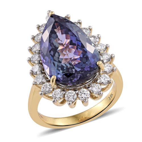 ILIANA 13.90 Ct AAA Peacock Tanzanite and Diamond IGI Certified (SI/G-H) Ring in 18K Gold