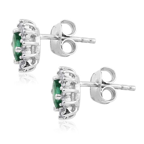 Limited Available- AAA  Premium Santa Terezinha Emerald (Ovl), Natural Cambodian Zircon Stud Earrings (with Push Back) in Platinum Overlay Sterling Silver 1.000 Ct.