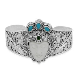 Princess Bali Collection OX Bone Carved Face (Ovl), Arizona Sleeping Beauty Turquoise and Russian Diopside Cuff Bangle (Size 7.25) in Sterling Silver 16.613 Ct. Silver t 40.02 Gms