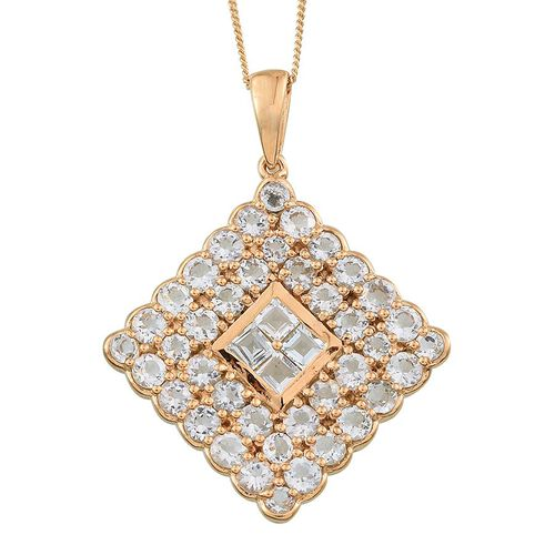 Espirito Santo Aquamarine (Sqr) Cluster Pendant With Chain in 14K Gold Overlay Sterling Silver 4.750 Ct.