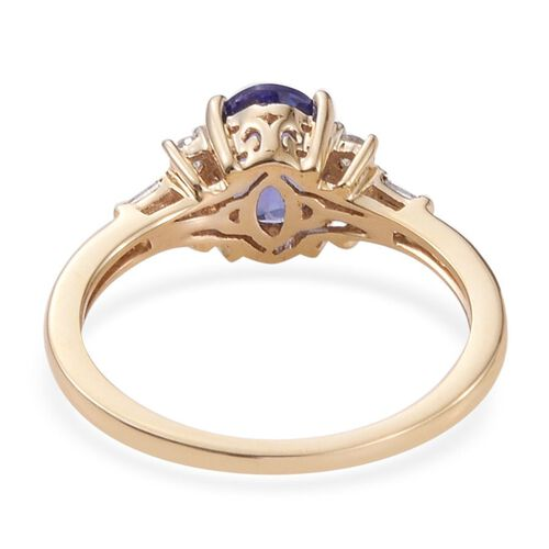 9K Y Gold AA Tanzanite (Ovl 1.05 Ct), Diamond Ring 1.250 Ct.