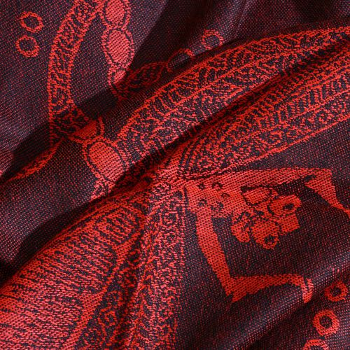 Limited Edition- Designer Inspired-Red and Black Colour Dragonfly Pattern Jacquard Scarf with Tassels (Size 180X70 Cm)