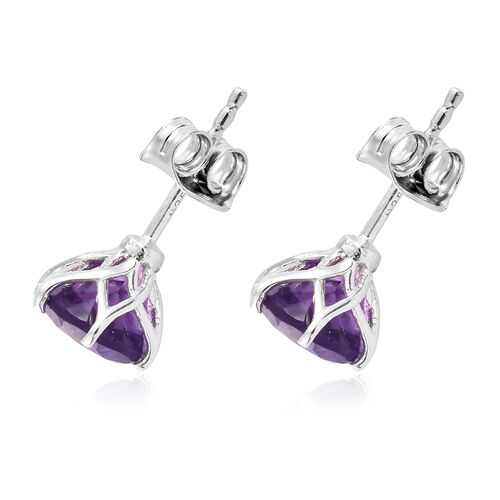 Amethyst 2.25 Ct Solitaire Stud Earrings  in Platinum Overlay