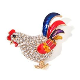 AAA White and Black Austrian Crystal Multi Colour Enameled Rooster Brooch in Yellow Gold Tone