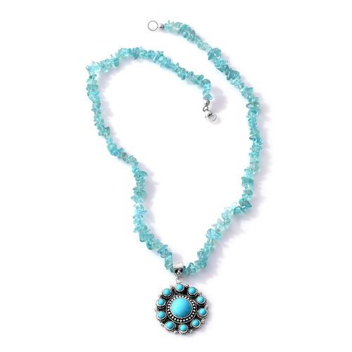 Jewels of India Arizona Sleeping Beauty Turquoise (Rnd), Paraibe Apatite Necklace (Size 20) in Sterling Silver 102.050 Ct.