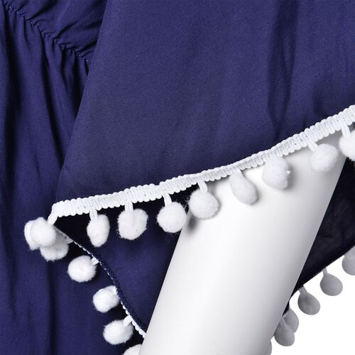 Navy and White Colour Apparel with Tassels (Size 80X70 Cm)