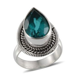Jewels of India Capri Blue Quartz (Pear) Solitaire Ring in Sterling Silver 6.250 Ct.