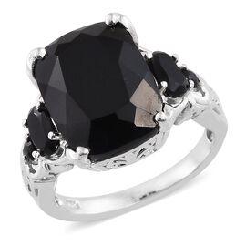 Black Tourmaline (Cush 11.35 Ct), Boi Ploi Black Spinel Ring in Platinum Overlay Sterling Silver 12.750 Ct.