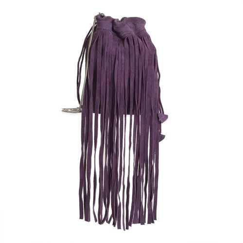 100% Genuine Leather Purple Colour Potli Bag with Long Fringes and Chain Strap (Size 17x17x8.5 Cm)