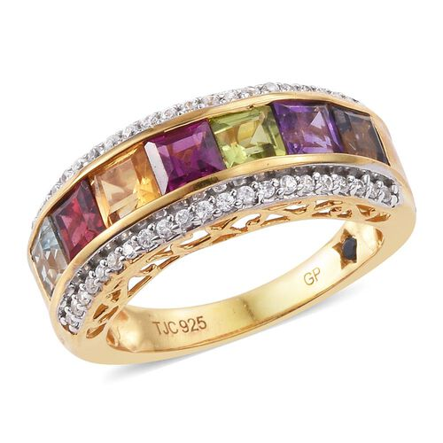 GP Rhodolite Garnet (Sqr), Sky Blue Topaz, Mozambique Garnet, Amethyst, Iolite, Hebei Peridot, Citrine and Multi GemStone Ring in 14K Gold Overlay Sterling Silver 3.250 Ct.
