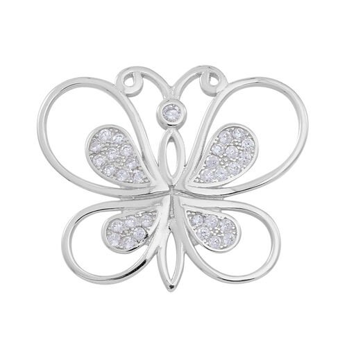 Blow Out Deal-ELANZA AAA Simulated White Diamond (Rnd) Butterfly Pendant in Rhodium Plated Sterling Silver