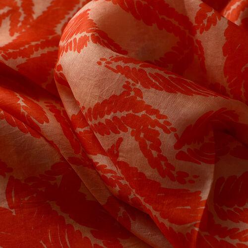 100% Mulberry Silk Leaf Printed Orange Colour Scarf (Size 175x100 Cm)
