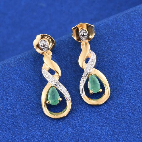 Kagem Zambian Emerald (Pear), Diamond Earrings (with Push Back) in 14K Gold Overlay Sterling Silver