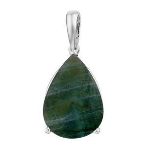 Natural Spectrolite (Pear) Solitaire Pendant in Platinum Overlay Sterling Silver 5.000 Ct.