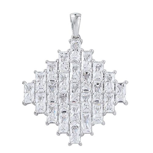 J Francis - Platinum Overlay Sterling Silver (Bgt) Cluster Pendant Made with SWAROVSKI ZIRCONIA