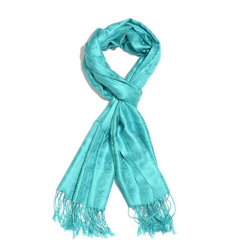 Silk Mark - 100% Super Fine Silk Turquoise Colour Floral and Paisley Pattern Jacquard Jamawar Scarf with Fringes (Size 180x70 Cm) (Weight 125 - 140 Gms)