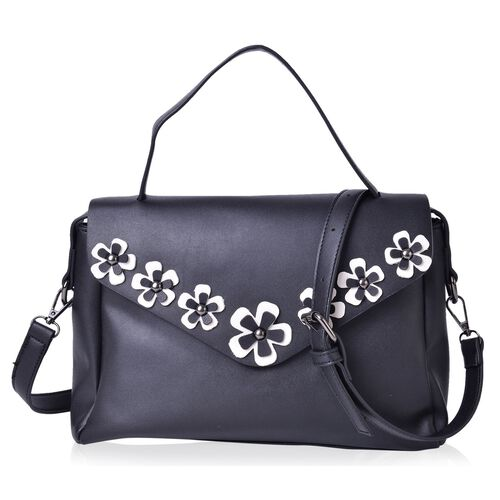Classic Black and White Colour 3D Flowers Embellished Crossbody Bag with Adjustable and Removable Shoulder Strap (Size 29X20.5X8 Cm)