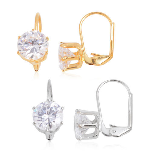 Set of 2 - Close Out Deal AAA Simulated Diamond (Rnd) Lever Back Earrings in Silver and Gold Bond