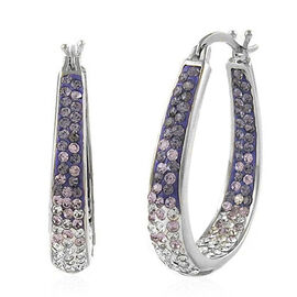 AAA Purple and White Austrian Crystal Hoop Earrings (with Clasp) in Silver Bond