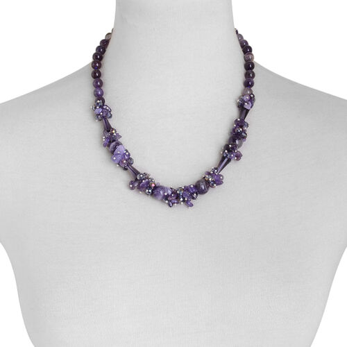 Amethyst and Simulated Purple Sapphire Necklace (Size 20) in Silver Tone