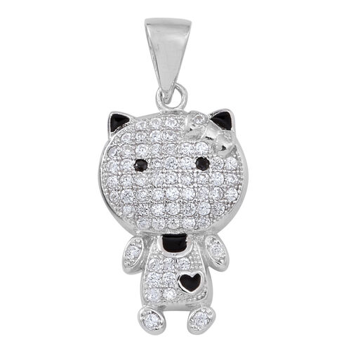 ELANZA AAA Simulated White Diamond (Rnd) Cat Pendant in Rhodium Plated Sterling Silver