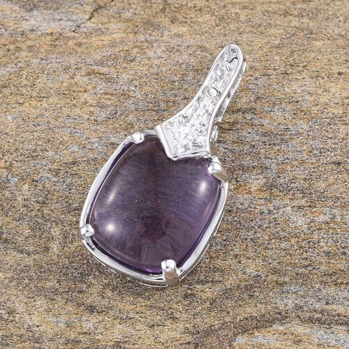 Amethyst (Cush) Solitaire Pendant in Platinum Overlay Sterling Silver 4.500 Ct.