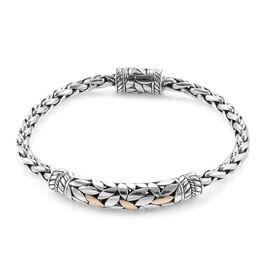 Royal Bali Collection 18K Yellow Gold and Sterling Silver Bracelet (Size 8), Silver wt 30.07 Gms.