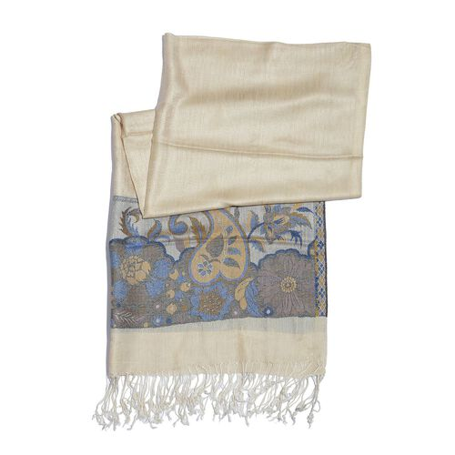 100% Modal Blue and Multi Colour Floral and Leaves Pattern Cream Colour Jacquard Scarf (Size 190x70 Cm)