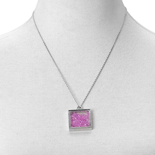 Simulated Purple Diamond Filled Square Shape Pendant With Chain (Size 24) in Silver Tone with Stainless Steel