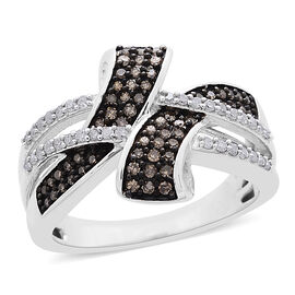 DOD - Natural Champagne Diamond (Rnd), White Diamond Crossover Ring in Platinum and Black Rhodium Overlay Sterling Silver 0.500 Ct.