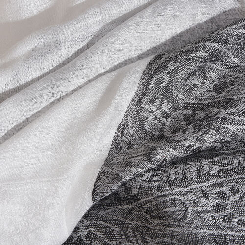 Black and White Colour Paisley Pattern Reversible Scarf with Tassels (Size 200X70 Cm)